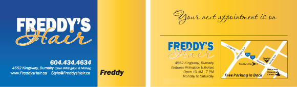 Freddy's Hair Combination Business Card and Appointment Card.