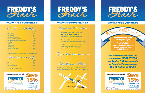 Freddy's Hair combination price list design and grand opening party invitation.