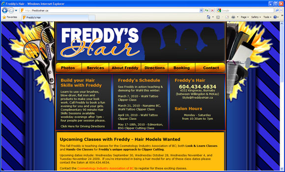 Freddy's Hair website design for the Joomla Content Management System.